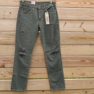 LEVI'S 511 Slim Distressed & Ripped Green Jeans